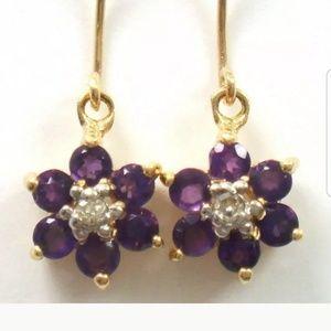 10kt Gold Amethyst  and Diamond Earrings